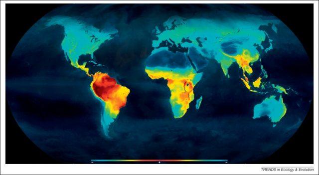 The redder the region, the higher the biodiversity.